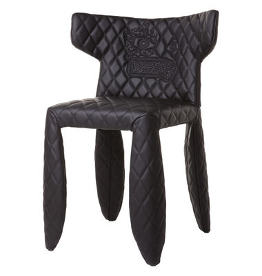 Furniture - Chairs - Monster Padded armchair by Moooi - Black - embroidered - Synthetic leather