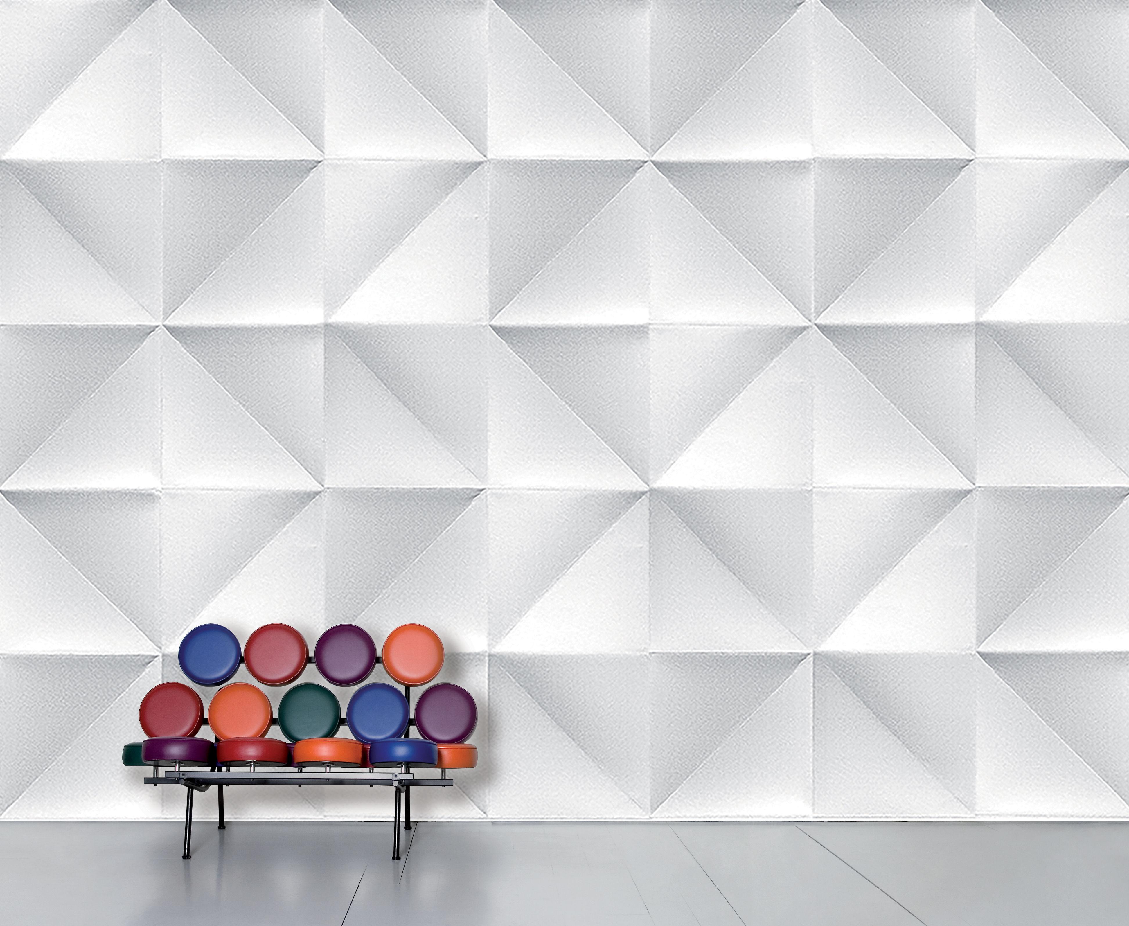 Déco - Stickers, papiers peints & posters - Papier peint panoramique WallpaperLab Floating / 8 lés - L 372 x H 300 cm - Domestic - Blanc & gris - Papier intissé