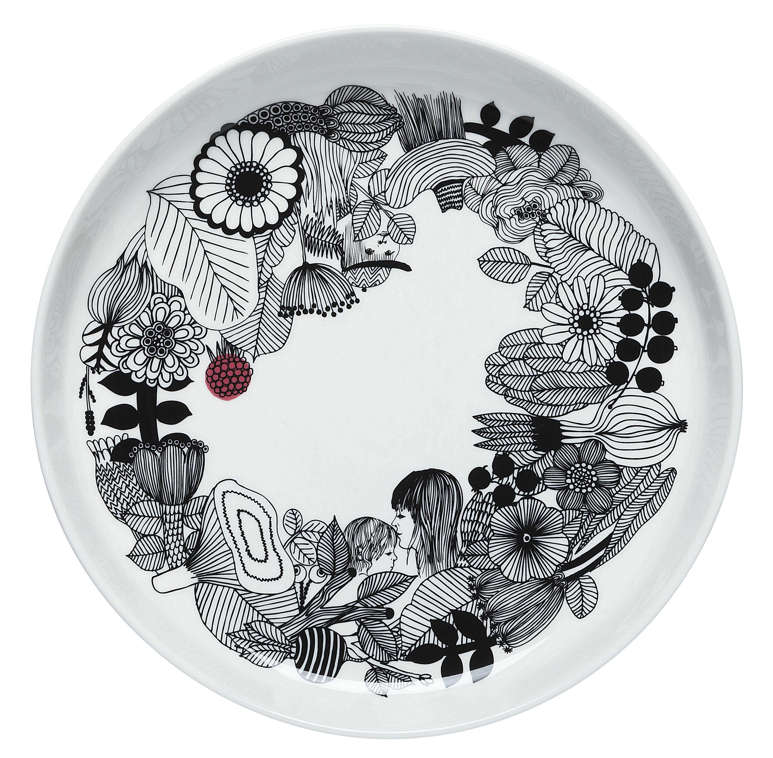 Arts de la table - Plats - Plat de présentation Siirtolapuutarha /Ø 32 cm - Marimekko - Siirtolapuutarha / Blanc, noir & rouge - Porcelaine émaillée