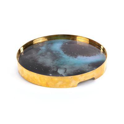 Arts de la table - Plateaux - Plateau Nebolusa / Ø 33 cm - Verre & laiton - Diesel living with Seletti - Multicolore / Or - Laiton, Verre