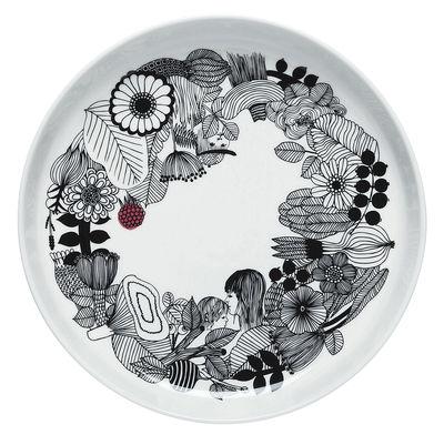 Tableware - Serving Plates - Siirtolapuutarha Presentation dish - /Ø 32 cm by Marimekko - White - Black - Red - Enamelled china