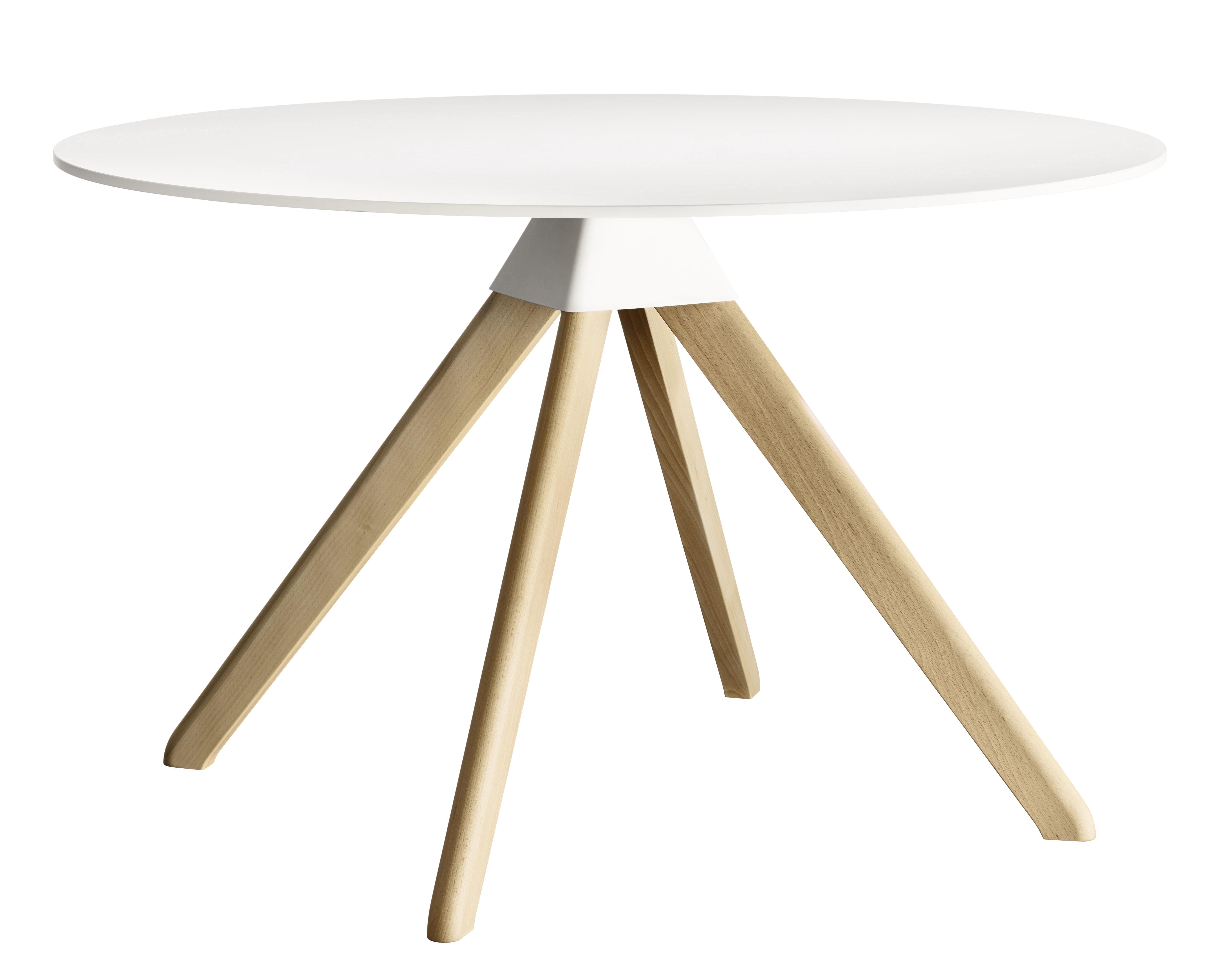 aktion - Die Top 100 des Herbstes - Cuckoo - The Wild Bunch Runder Tisch Ø 120 cm - Magis - Weiß / Tischbeine holzfarben - Buchenfurnier, Holzfaserplatte, Polypropylen