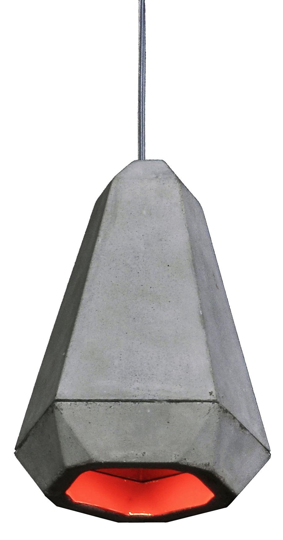 Luminaire - Suspensions - Suspension Portland / Béton - Innermost - Béton gris / Intérieur rouge - Béton