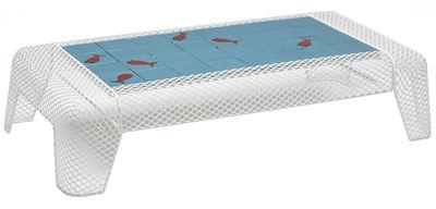 Mobilier - Tables basses - Table basse Ivy céramique motif Poisson - Emu - Blanc / Plateau : carreaux bleus avec motifs Poisson - Acier, Terre cuite émaillée