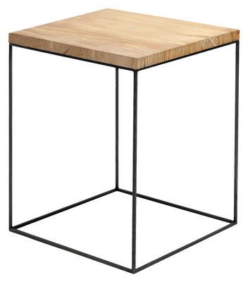 Mobilier - Tables basses - Table basse Slim Irony / 41 x 41 x H 64 cm - Zeus - Bois / Pied noir cuivré - Acier