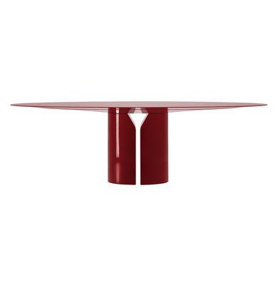 Table ovale NVL / 200 x 120 cm - By Jean Nouvel - MDF Italia rouge en bois