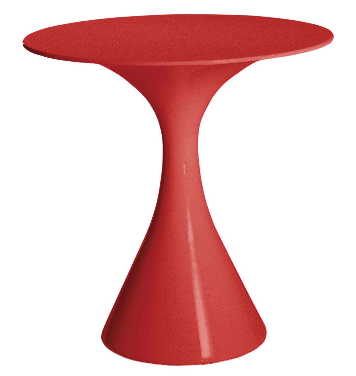 Outdoor - Tables de jardin - Table ronde Kissi Kissi / Ø 70 cm - Driade - Rouge - Polyéthylène