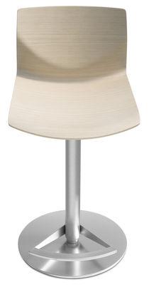 Tabouret haut réglable Kai / Assise bois pivotante - Lapalma blanc/bois naturel en métal/bois