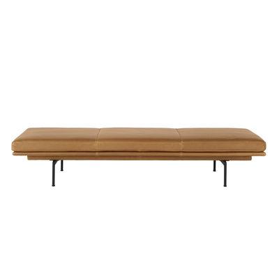 Möbel - Sofas - Outline Tagesbett / Leder - 200 x 82 cm - Muuto - Leder Cognac / Füße schwarz - Aluminium laqué époxy, Cuir pleine fleur, High Density-Schaum