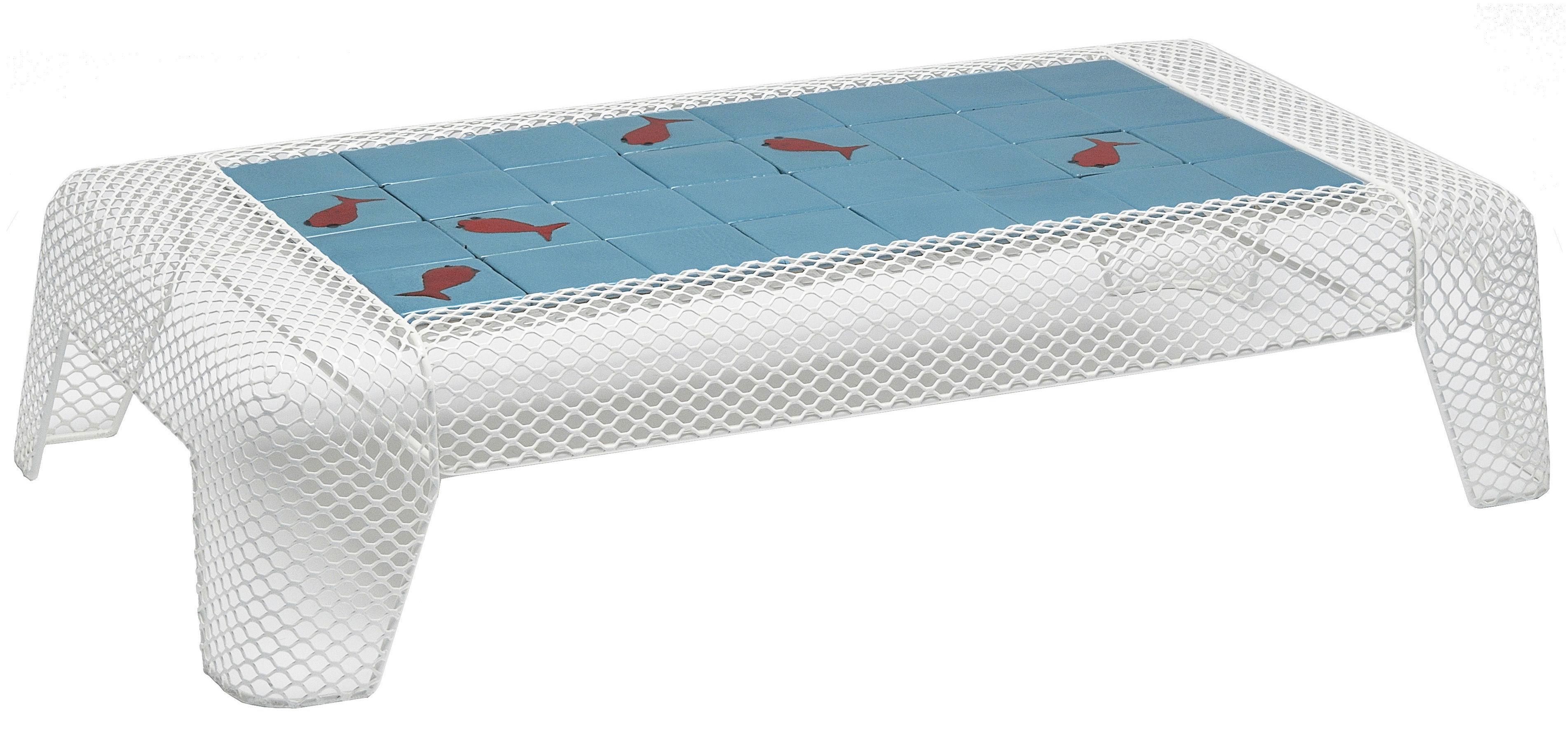 Arredamento - Tavolini  - Tavolino Ivy - Ceramica motivo pesce di Emu - Bianco / Piano: quadrati blu con motivi Pesce - Acciaio, Terracotta smaltata