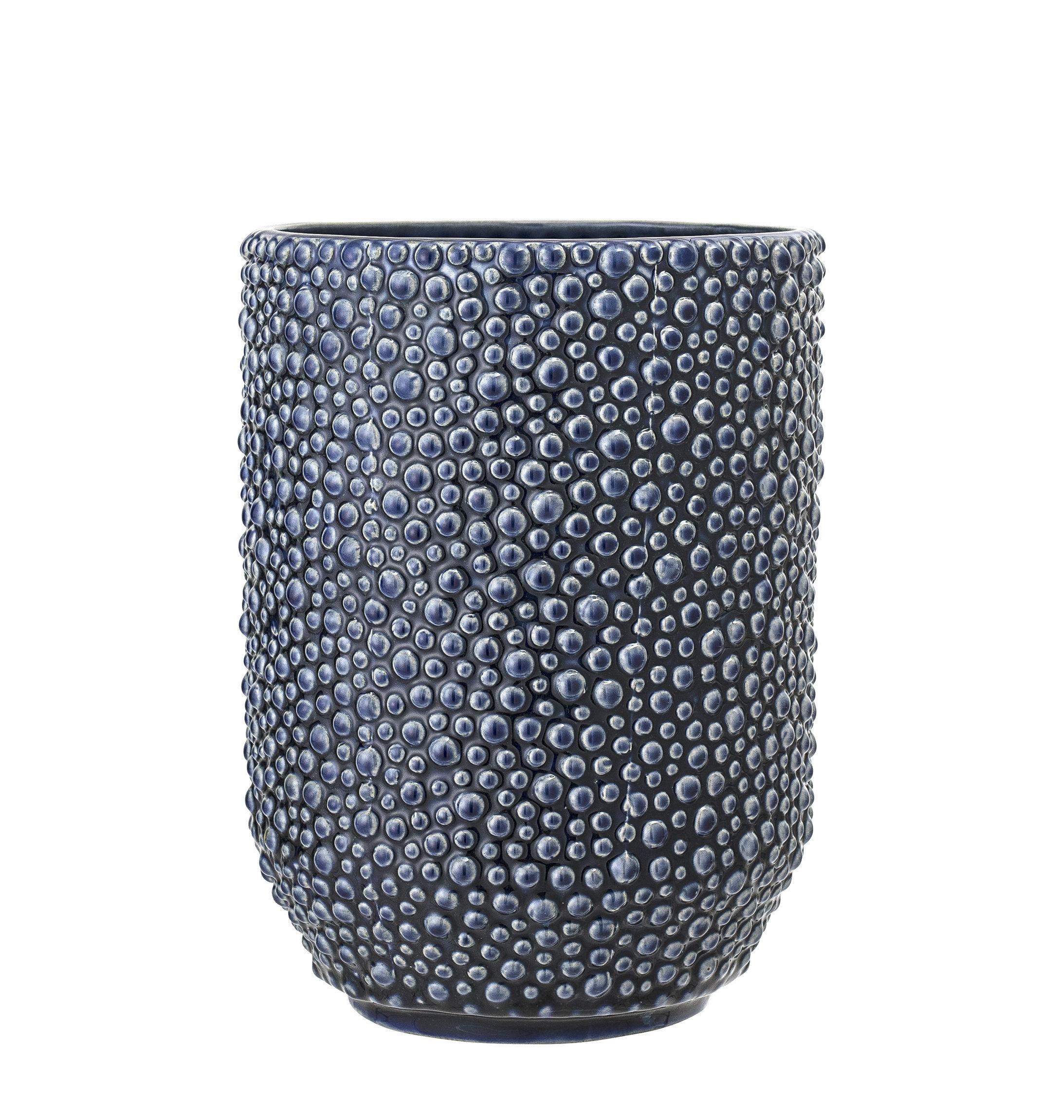 Déco - Vases - Vase / H 20,5 cm - Bloomingville - Bleu - Grès émaillé