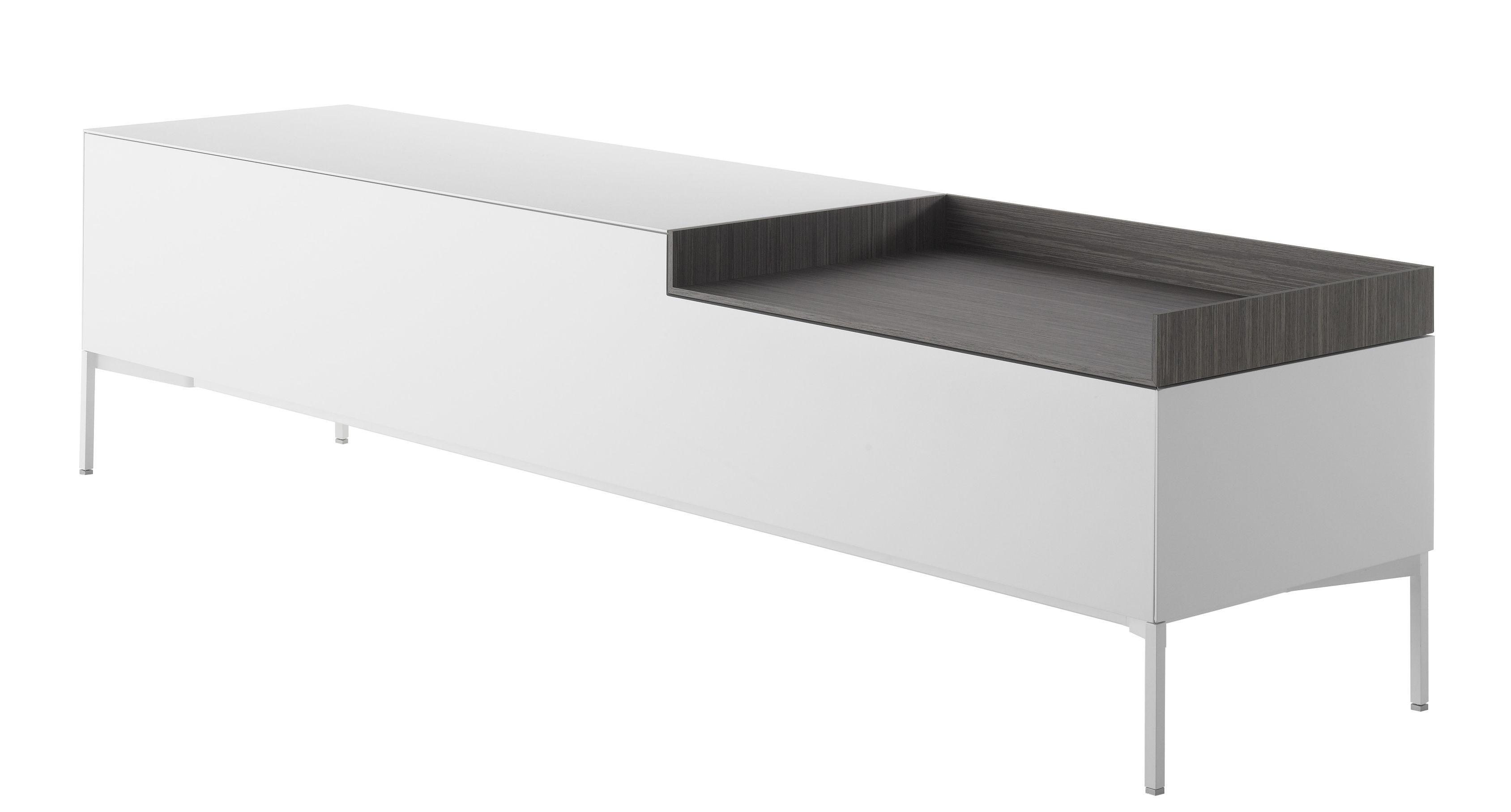 Möbel - Kommode und Anrichte - Inmotion Anrichte / L 203 cm - 4 Beine - MDF Italia - 4 Beine / weiß & grau - Bois multiplis, Holzfaserplatte