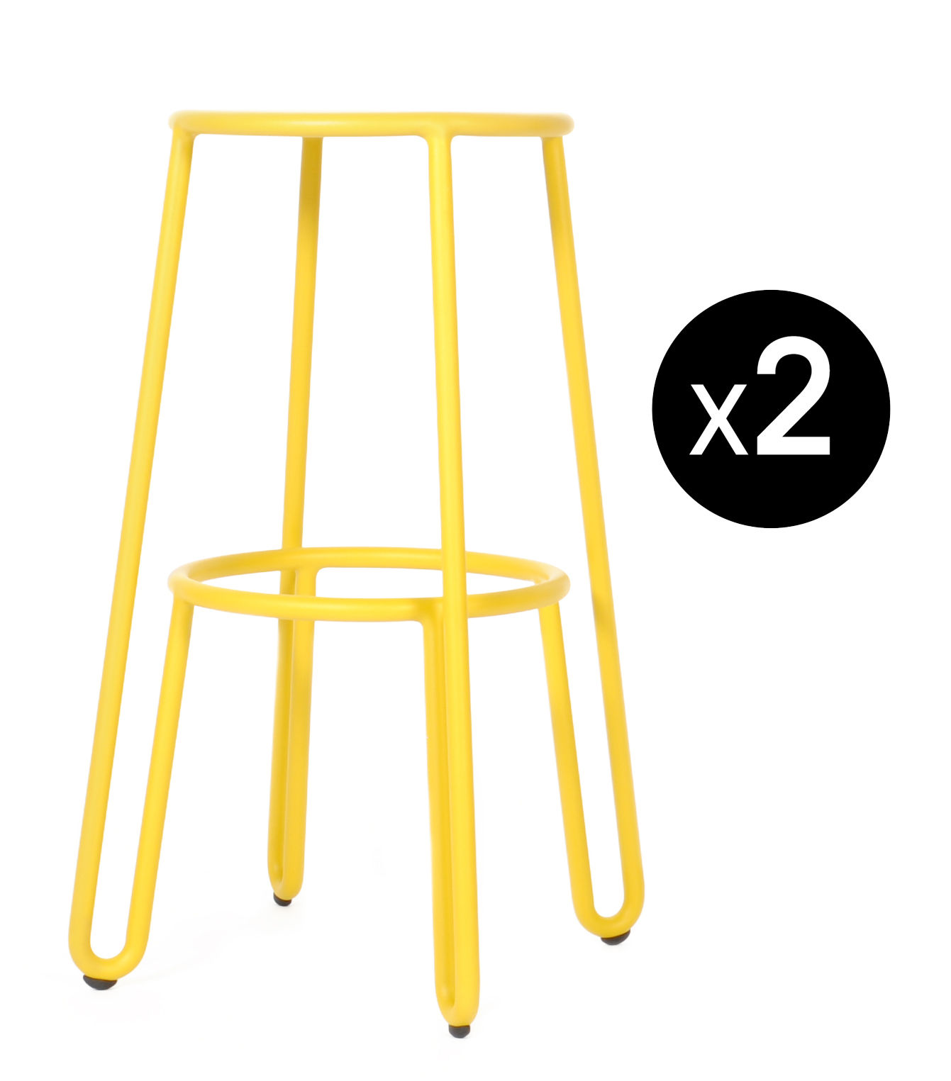 Furniture - Bar Stools - Huggy Bar stool - / H 75 cm - Set of 2 by Maiori - Mustard - Lacquered aluminium