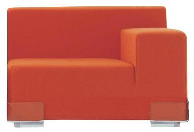 Canapé modulable Plastics / Module accoudoir gauche - L 90 cm - Kartell orange en matière plastique