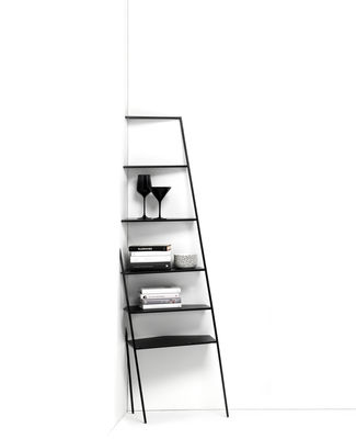 Furniture - Bookcases & Bookshelves - Mama' small Corner shelf - / Trompe l'œil - H 166 cm by Mogg - Black / Small - Painted metal