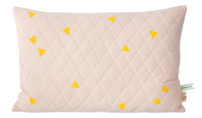 Interni - Per bambini - Cuscino Teepee - Imbottito - 60 x 40 cm di Ferm Living - Rosa / Triangoli gialli - Cotone
