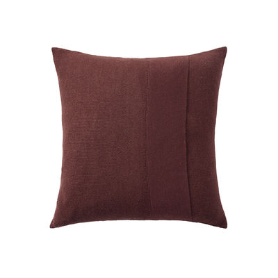 Decoration - Cushions & Poufs - Layer Cushion - / Hand-knitted baby llama wool - 50 x 50 cm by Muuto - Burgundy -  Plumes, Baby llama wool, Cotton
