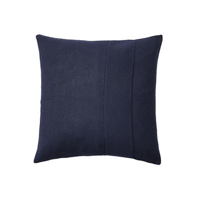 Decoration - Cushions & Poufs - Layer Cushion - / Hand-knitted baby llama wool - 50 x 50 cm by Muuto - Midnight blue -  Plumes, Baby llama wool, Cotton