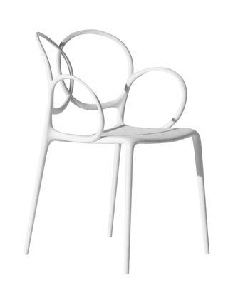 Mobilier - Chaises, fauteuils de salle à manger - Fauteuil empilable Sissi Outdoor - Driade - Blanc - Fibre de verre, Polyéthylène, Polypropylène