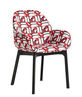 Mobilier - Chaises, fauteuils de salle à manger - Fauteuil rembourré Clap La Double J / Tissu & pieds plastique - Kartell - Geometrico rosso / Pieds noirs - Polyuréthane, Technopolymère thermoplastique, Tissu