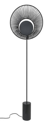 Lighting - Floor lamps - Oyster Floor lamp - / Ø 40 x H 145 cm by Forestier - Black - Cotton, Lacquered metal, Tinted concrete