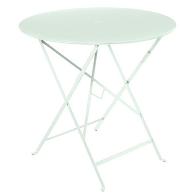 Outdoor - Garden Tables - Bistro Foldable table - / Ø 77 cm - Hole for parasol by Fermob - Ice mint - Lacquered steel