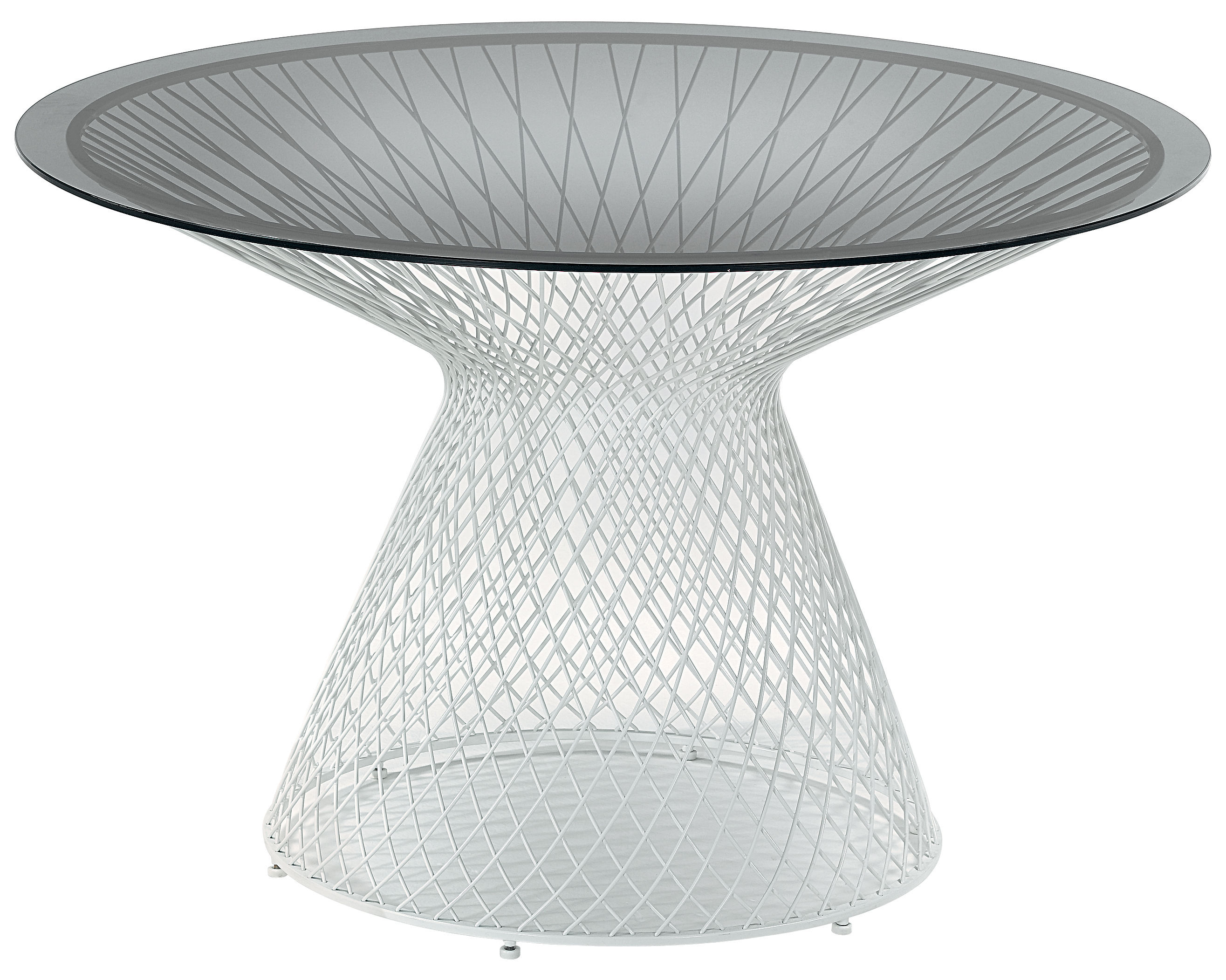 Outdoor - Garden Tables - Heaven Garden table - Ø 120 cm by Emu - Matt white - Glass, Steel
