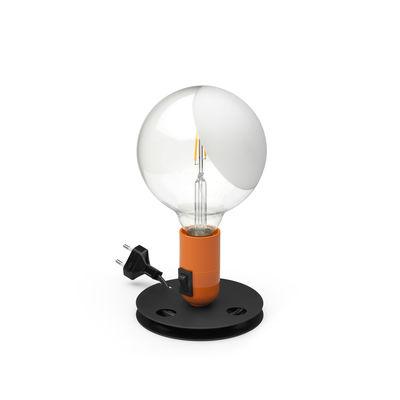 Luminaire - Lampes de table - Lampe de table Lampadina / Achille Castiglioni, 1973 - Flos - Orange / Base noire - Aluminium laqué, Backélite, Verre