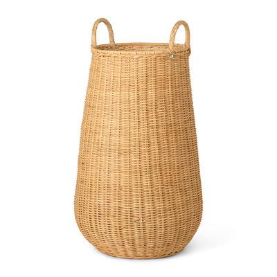 Decoration - Boxes & Baskets - Braided Laundry basket - / Ø 42 x H 80 cm - Rattan by Ferm Living - Natural rattan - Woven rattan