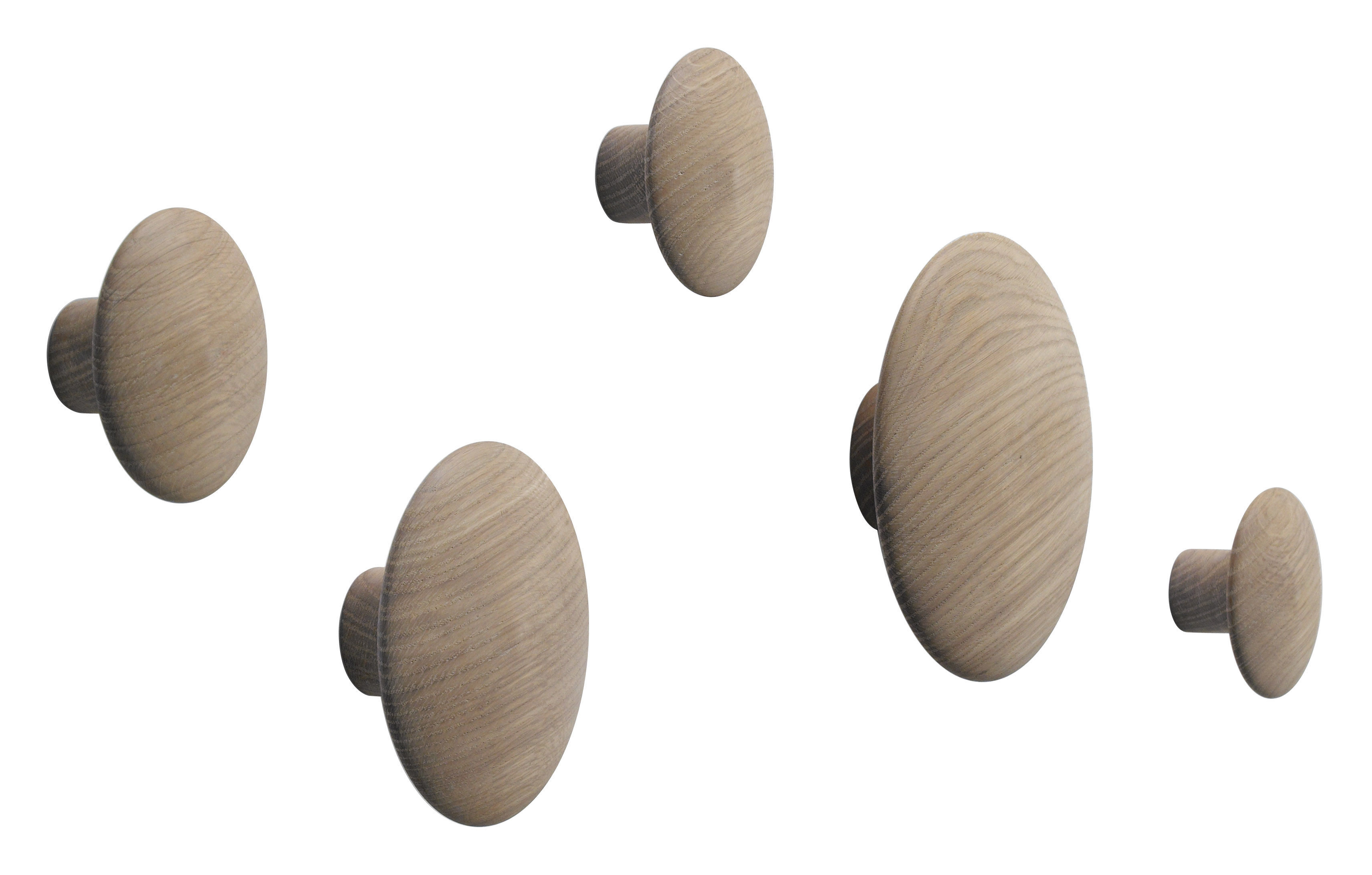 Mobilier - Portemanteaux, patères & portants - Patère The dots / Set de 5 - Muuto - Chêne naturel - Chêne