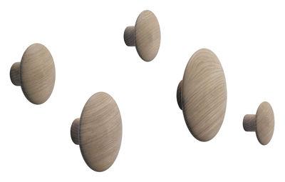 Mobilier - Portemanteaux, patères & portants - Patère The Dots Wood / Set de 5 - Muuto - Chêne naturel - Chêne