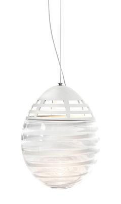 Leuchten - Pendelleuchten - Incalmo LED Pendelleuchte / Ø 24 cm x H 32 cm - mundgeblasenes Glas & Aluminium - Artemide - Transparent mit weißen Streifen - bemaltes Aluminium, geblasenes Glas