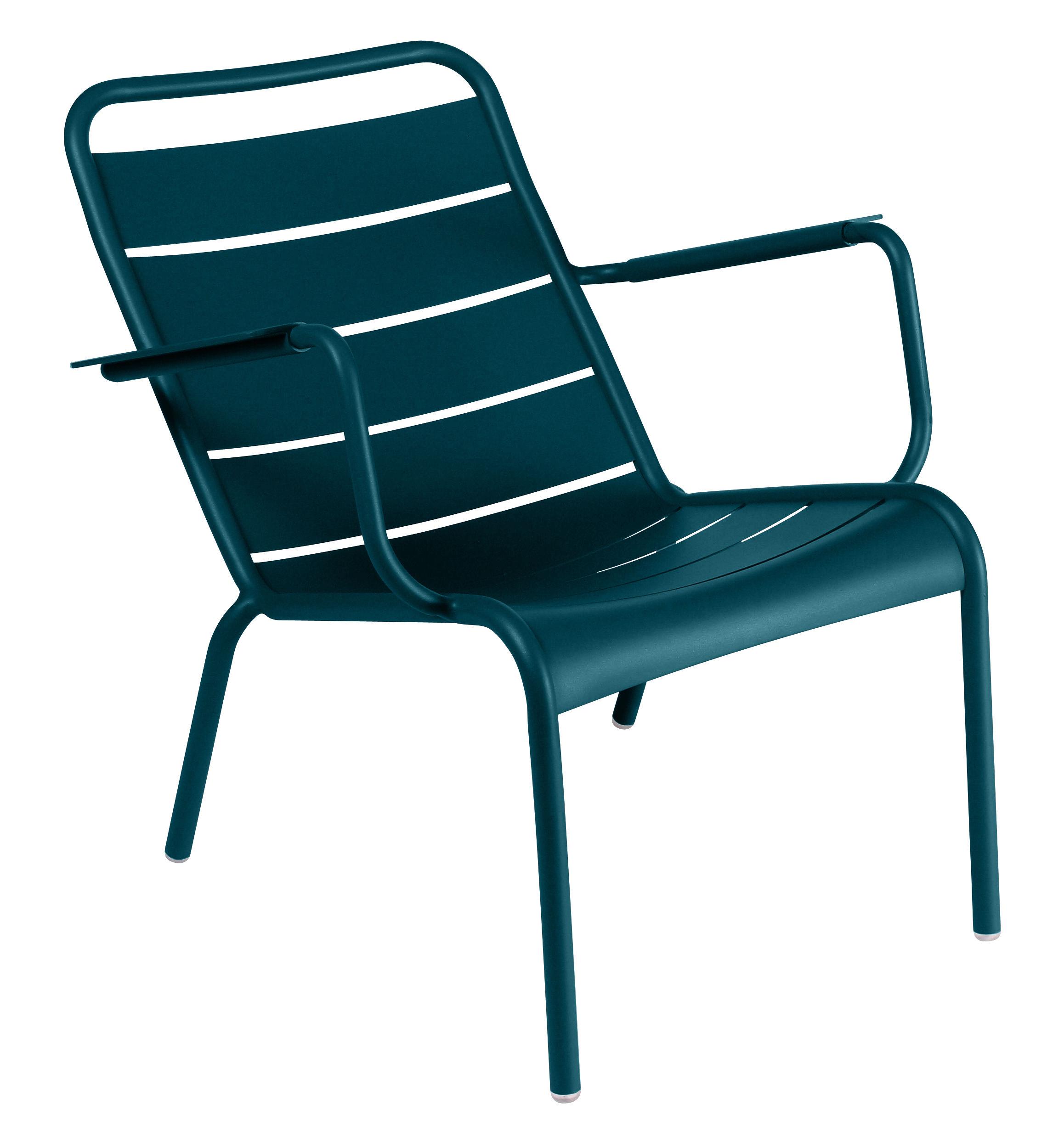 Arredamento - Poltrone design  - Poltrona bassa Luxembourg - / Alluminio di Fermob - Blu Acapulco - Alluminio laccato