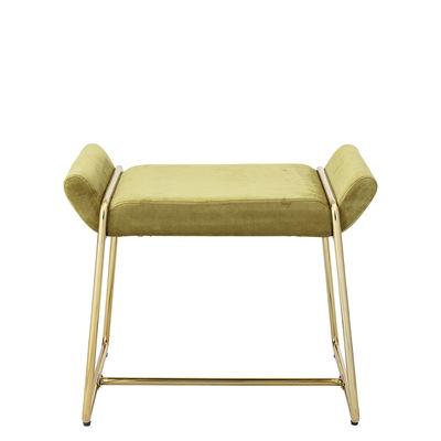 Furniture - Stools - Megan Pouf - / Padded pouffe - Velvet by Bloomingville - Yellow-green / Gold - Foam, Iron, Velvet
