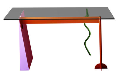 Furniture - Dining Tables - Peninsula Rectangular table by Memphis Milano - Multicolored - Glass, Lacquered metal