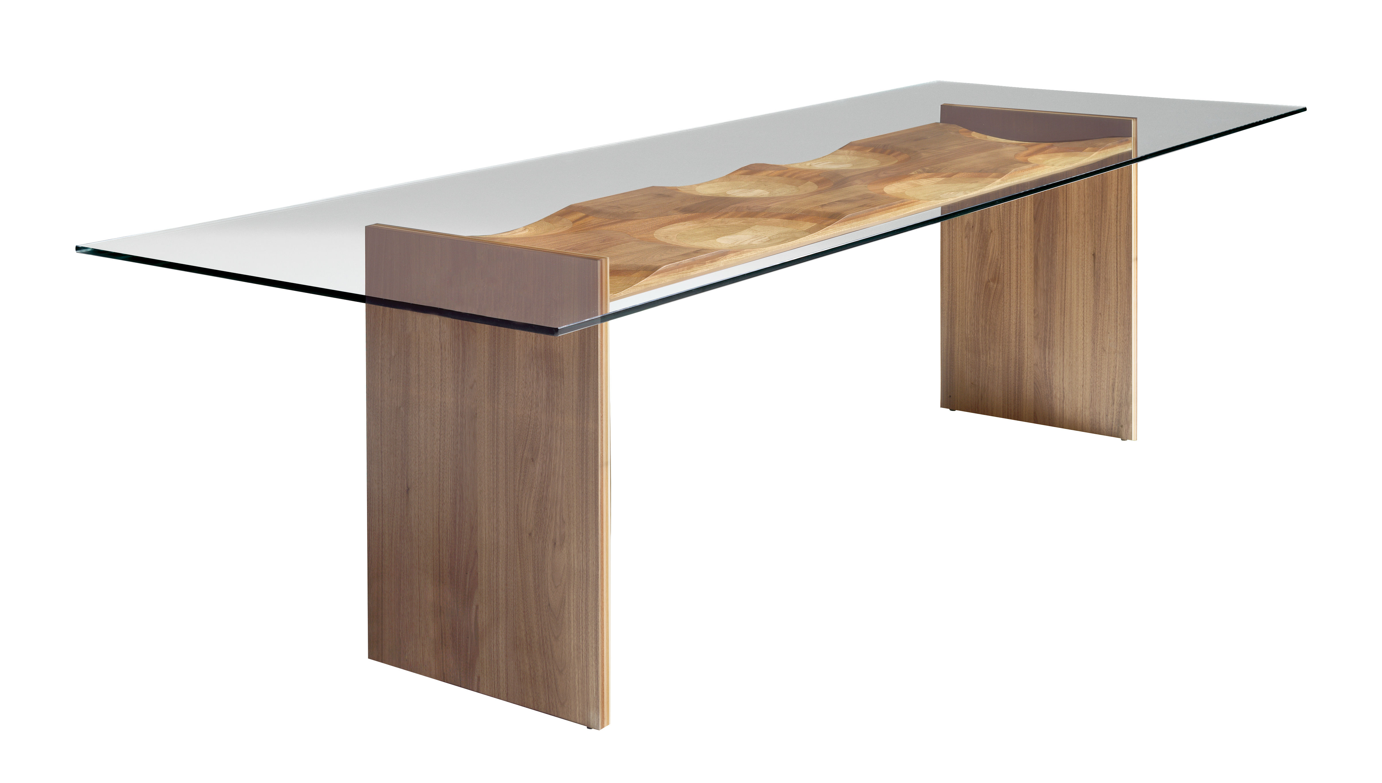 Furniture - Dining Tables - Ripples Rectangular table - 250 x 100 cm - Wood & glass by Horm - Transparent / Wood - Glass, Plywood