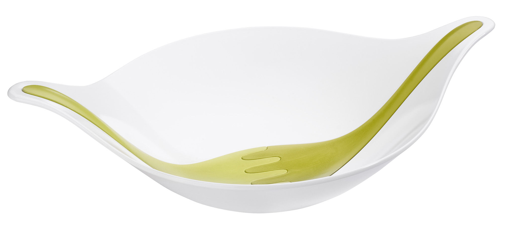 Tableware - Bowls - Leaf XL+ Salad bowl - with cutlery by Koziol - White salad bowl / Mustard and olive yellow servers - Plastic