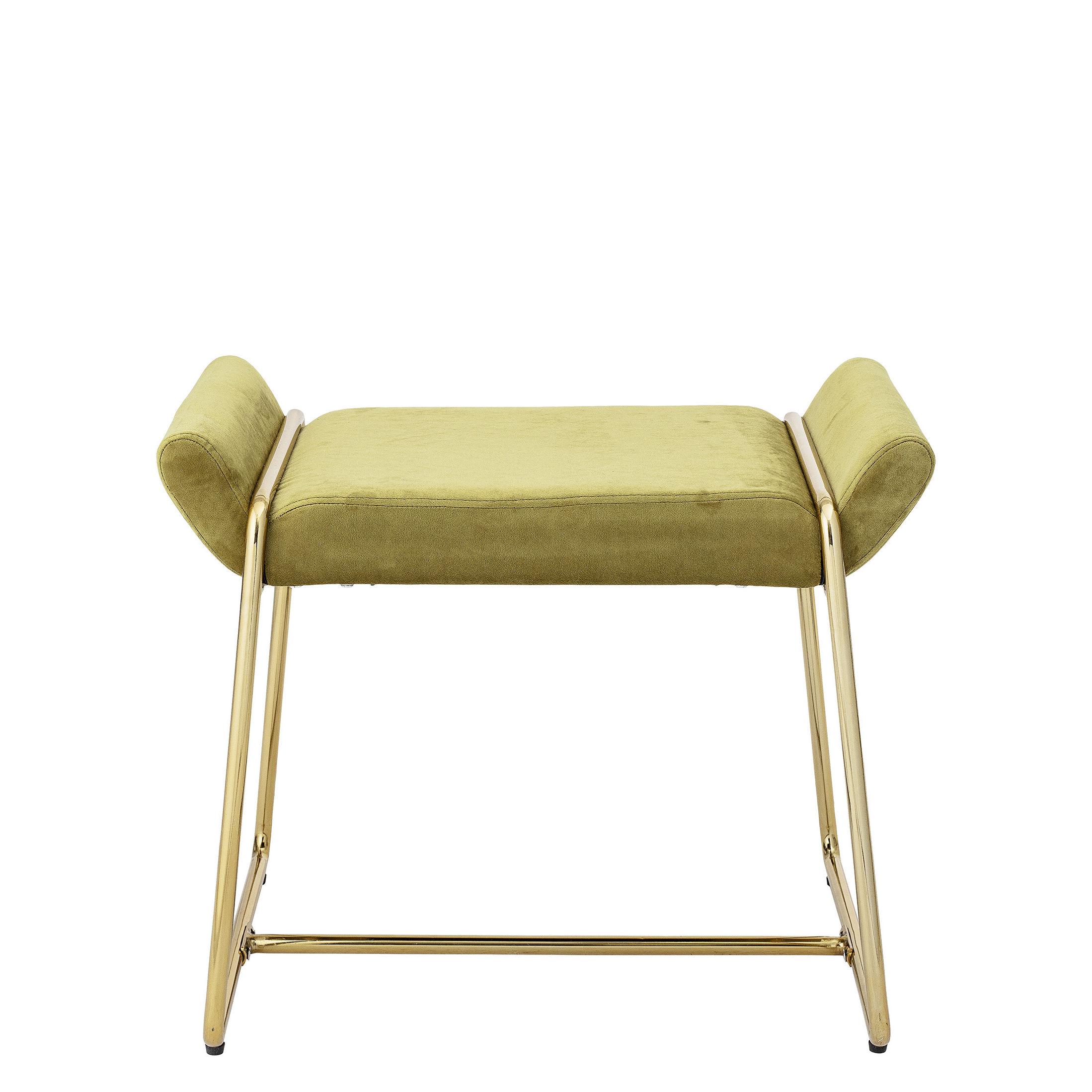 Möbel - Hocker - Megan Sitzkissen / Sitzkissen gepolstert - Samt - Bloomingville - Gelb-grün / Gold - Eisen, Schaumstoff, Velours
