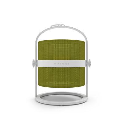 Leuchten - Tischleuchten - La Lampe Petite LED Solarlampe / kabellos - Gestell weiß - Maiori - Khaki / Gestell weiß - Aluminium, Technisches Gewebe