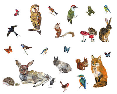 Decoration - Children's Home Accessories - Les animaux 2 Sticker - Set of 27 stickers by Domestic - 27 stickers - Vinyl