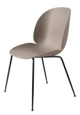 Möbel - Stühle  - Beetle Stuhl / Gamfratesi - Stuhlbeine schwarz - Gubi - Beige / Stuhlbeine schwarz - lackierter Stahl, Polypropylen