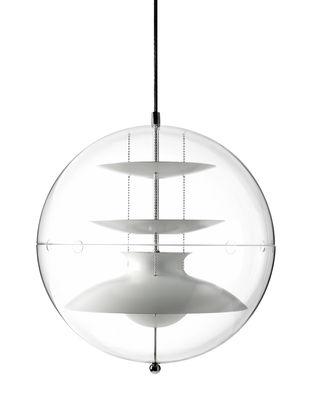 Suspension Panto Ø 40 cm - Panton 1977 - Verpan blanc,transparent en métal