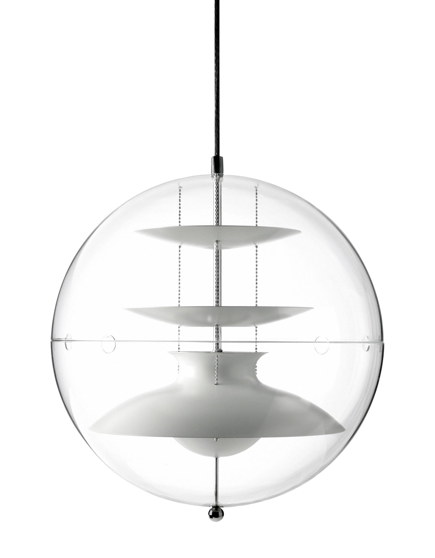 Luminaire - Suspensions - Suspension Panto Ø 40 cm - Panton 1977 - Verpan - Ø 40 cm / Transparent & réflecteurs blancs - Acrylique, Aluminium peint
