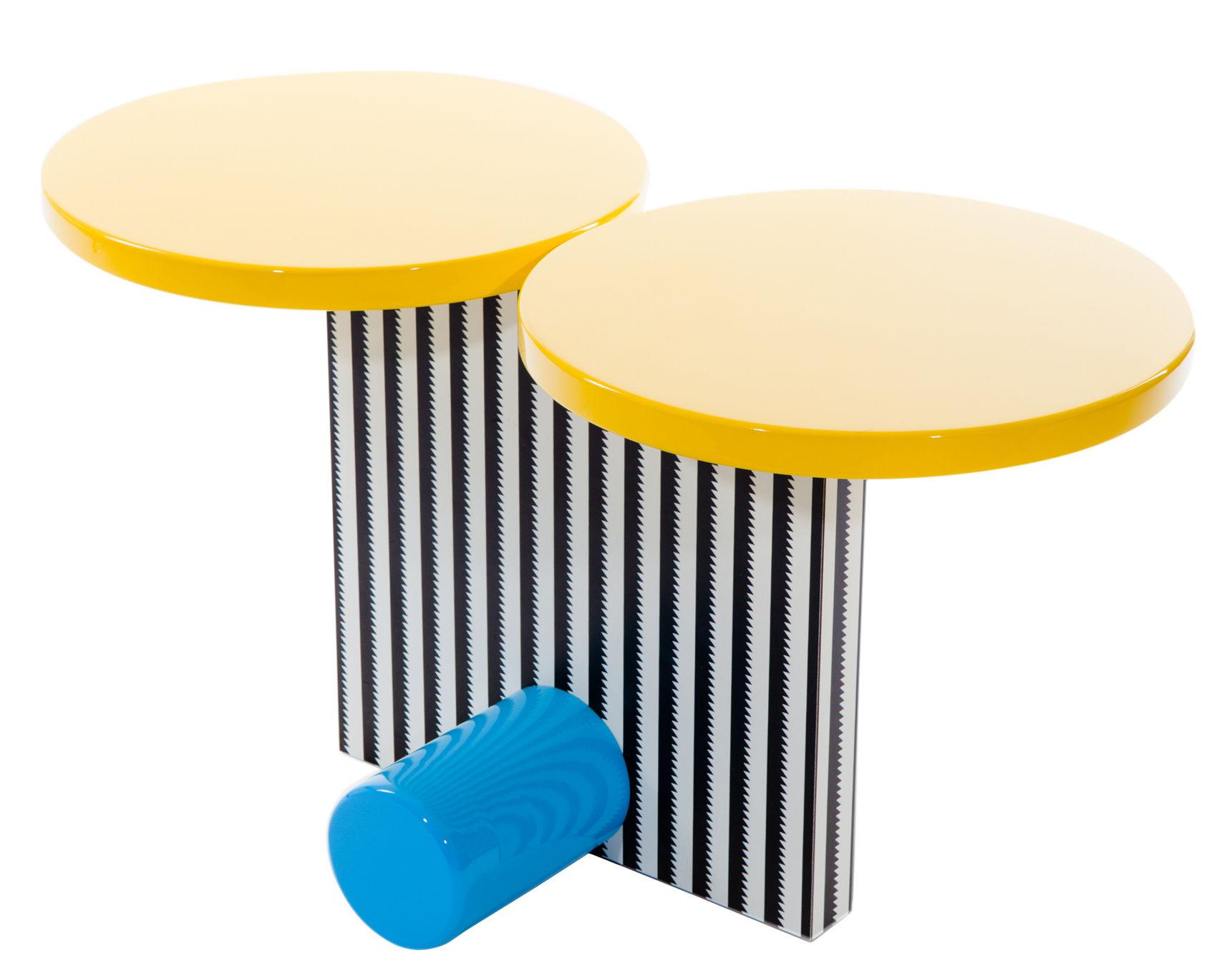 Mobilier - Tables basses - Table d'appoint Polar by Michele De Lucchi / 1984 - Memphis Milano - Multicolore - Bois laqué, Laminé plastique