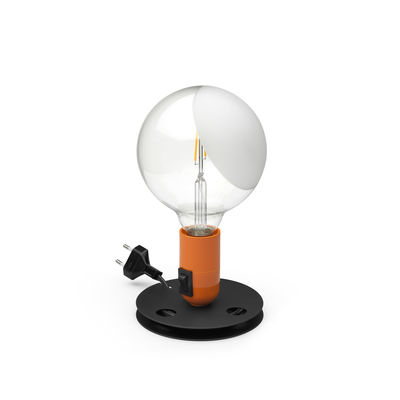 Lighting - Table Lamps - Lampadina Table lamp - / Achille Castiglioni, 1973 by Flos - Orange - Bakelite, Glass, Lacquered aluminium