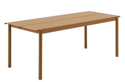 Table Linear Acier 200 x 75 cm Muuto caramel en métal