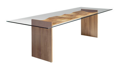 Mobilier - Tables - Table Ripples / 250 x 100 cm - 5 essences de bois - Horm - Transparent / Bois - Contreplaqué, Verre