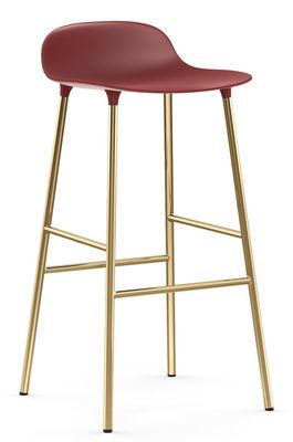 Tabouret de bar Form / H 75 cm - Pied laiton - Normann Copenhagen rouge,laiton en métal