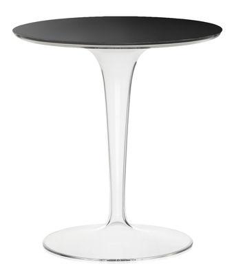 Arredamento - Tavolini  - Tavolino Tip Top Glass / Top vetro - Kartell - Nero / Piede cristallo - PMMA, Vetro