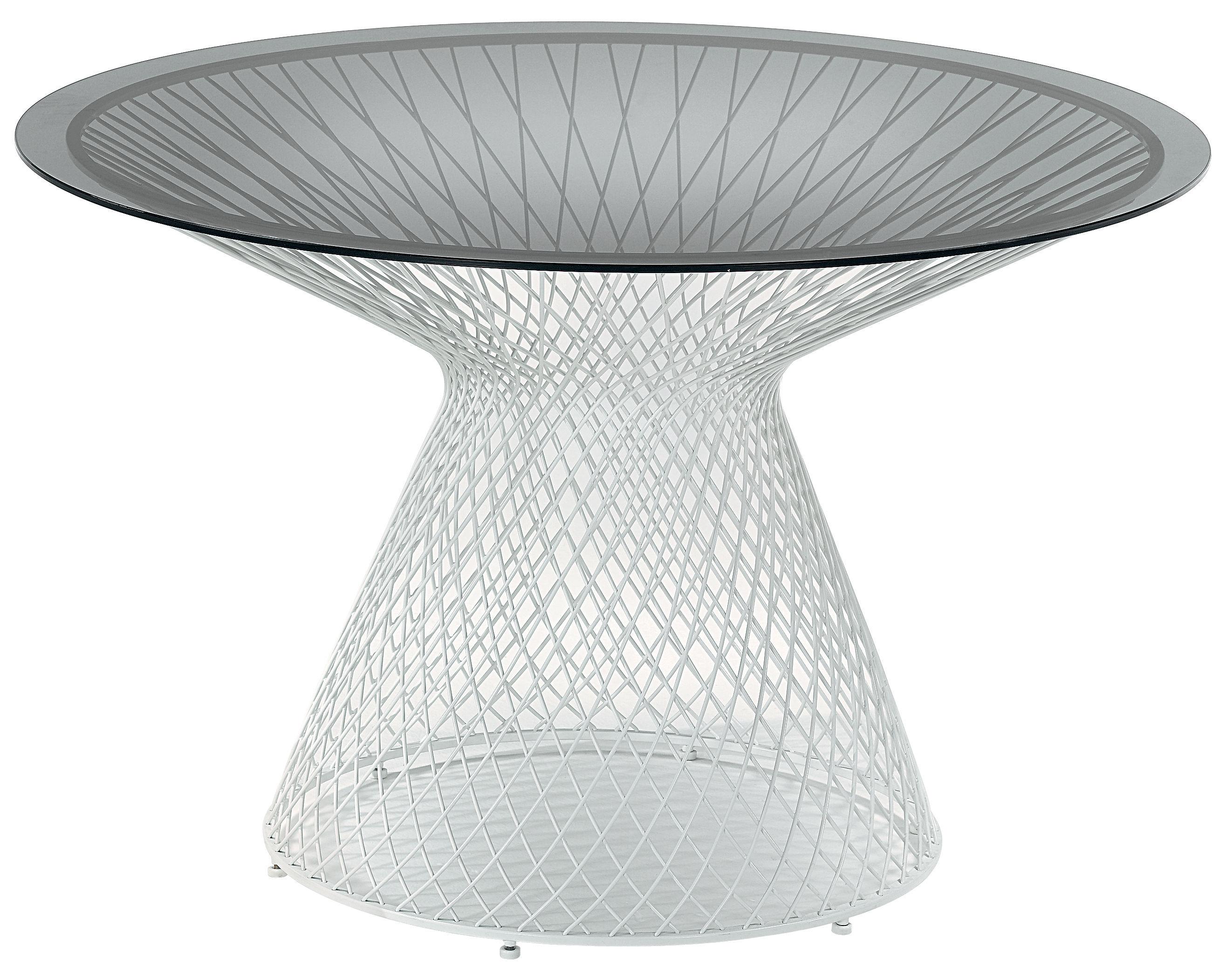 Outdoor - Tavoli  - Tavolo rotondo Heaven - Ø 120 cm di Emu - Bianco - Acciaio, Vetro